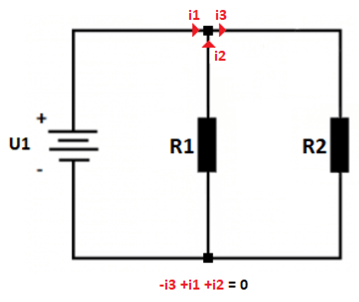 Presentation of 1st Kirchhoff's Law in electrical circuit