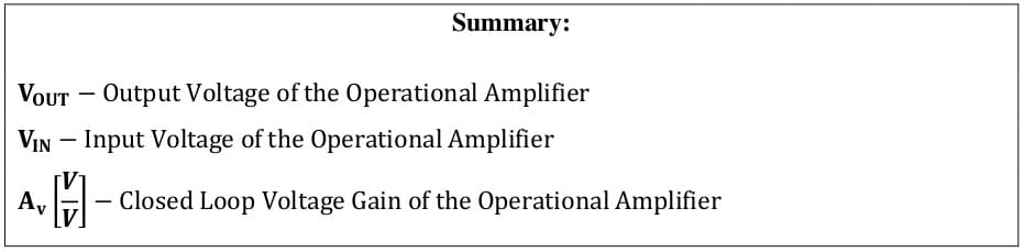 operational amplifier formulas 1