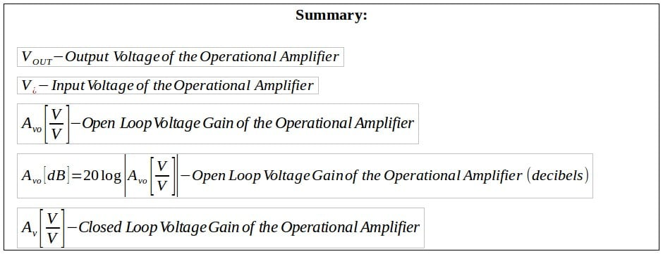 operational amplifier formulas 2