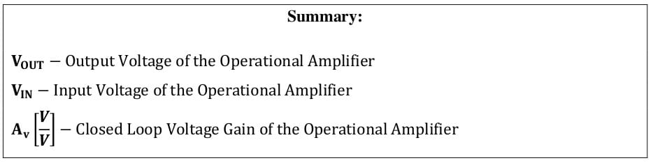 operational amplifier formulas 51