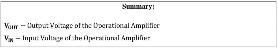 operational amplifier formulas 61