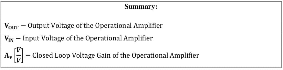 operational amplifier formulas 91