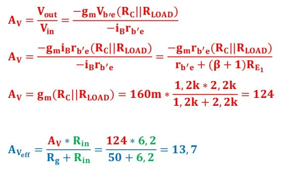 small signal amplifier task formulas 106