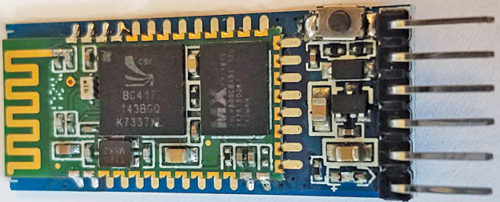 Top view of typical HC-05 Bluetooth module